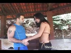 Sexy shemale acquires her ass fucked outdoors