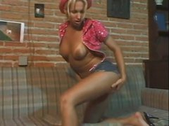Solo blonde shemale ragging and stroke