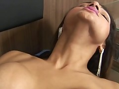 Timid TS slut becomes a slave of a huge mighty manhood