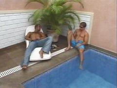 2 guys tempt lady-man outdoors